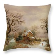 Little Red Riding Hood In The Snow Throw Pillow by Charles Leaver
