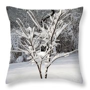 Little Snow Tree Throw Pillow by Karen Adams