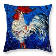 Little White Rooster Throw Pillow by Mona Edulesco