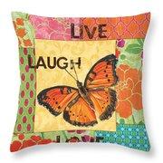Live Laugh Love Patch Throw Pillow by Debbie DeWitt