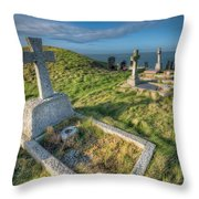 Llanbadrig Cemetery Throw Pillow by Adrian Evans