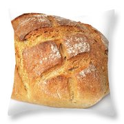 Loaf of bread on white Throw Pillow by Matthias Hauser