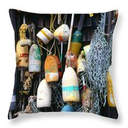 Lobster Buoys Fishermans Shed Throw Pillow by Thomas R Fletcher