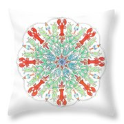 Lobster Mandala Throw Pillow by Stephanie Troxell