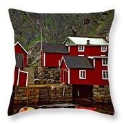 Lofoten Fishing Huts oil Throw Pillow by Steve Harrington