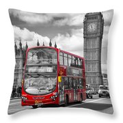 London - Houses Of Parliament And Red Bus Throw Pillow by Melanie Viola