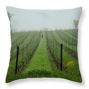 Lone Figure In Vineyard In The Rain On The Mission Peninsula Michigan Throw Pillow by Mary Lee Dereske