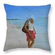 Lonely Beach Walk Throw Pillow by Joyce Reid