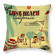 Long Beach 1946 Throw Pillow by Nomad Art And  Design