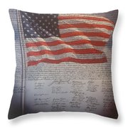 Long May She Wave Throw Pillow by M and L Creations
