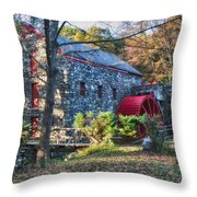 Longfellow's Wayside Inn Grist Mill In Autumn Throw Pillow by Jeff Folger