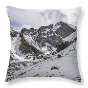Longs Peak Winter Throw Pillow by Aaron Spong