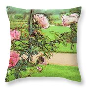 Looking Through The Rose Vine Throw Pillow by Stephanie Hollingsworth