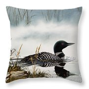 Loons Misty Shore Throw Pillow by James Williamson