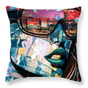 Los Angeles Skyline Throw Pillow by Corporate Art Task Force