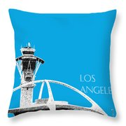 Los Angeles Skyline Lax Spider - Ice Blue Throw Pillow by DB Artist