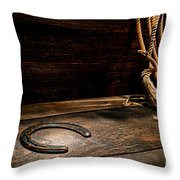 Lost  Horseshoe Throw Pillow by Olivier Le Queinec