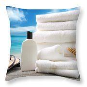 Lotion  Towels And Sandals With Ocean Scene Throw Pillow by Sandra Cunningham