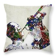 Louie Armstrong 2 Throw Pillow by Jack Zulli