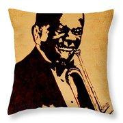Louis Armstrong Original Coffee Painting Art Throw Pillow by Georgeta  Blanaru