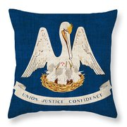 Louisiana State Flag Throw Pillow by Pixel Chimp