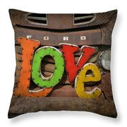 Love And A Ford Truck Throw Pillow by Carla Parris