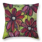 Love For Five Daisies Throw Pillow by Laurie Maves ART