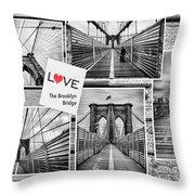 Love The Brooklyn Bridge Throw Pillow by John Farnan