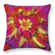 Loveflower Orangered Throw Pillow by Alixandra Mullins