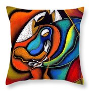 Loving Family Throw Pillow by Leon Zernitsky