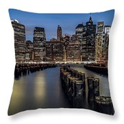 Lower Manhattan skyline Throw Pillow by Eduard Moldoveanu