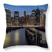 Lower Manhattan Skyline Throw Pillow by Eduard Moldoveanu