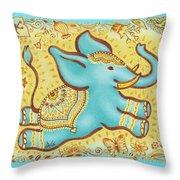 Lucky Elephant Turquoise Throw Pillow by Judith Grzimek