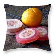 Luffa Red And Pink Soap Throw Pillow by Anastasiya Malakhova