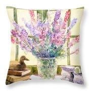 Lupins On Windowsill Throw Pillow by Julia Rowntree