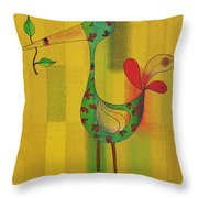 Lutgarde's Bird - 061109106y Throw Pillow by Variance Collections