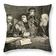 Luther Melancthon Pomeranus And Cruciger Translating  Throw Pillow by English School