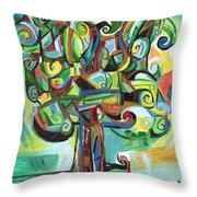 Lyrical Tree Throw Pillow by Genevieve Esson