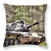 M60 Patton Tank Throw Pillow by Olivier Le Queinec