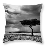 Maasai Mara In Black And White Throw Pillow by Amanda Stadther