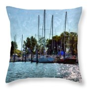 Macatawa Masts Throw Pillow by Michelle Calkins