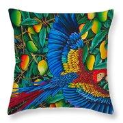 Macaw In Mango Tree Throw Pillow by Daniel Jean-Baptiste