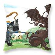 Macduff And The Dragon Throw Pillow by Margaryta Yermolayeva