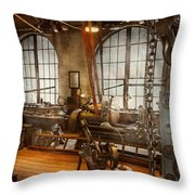 Machinist - The Crowded Workshop Throw Pillow by Mike Savad