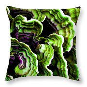 Macro Saprophyte In Green Throw Pillow by Bill Caldwell -        ABeautifulSky Photography