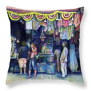 Mad Man Of Market And Main Singapore Throw Pillow by Gaye Elise Beda