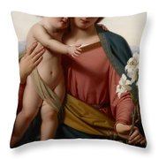 Madonna and Child Throw Pillow by Franz Ittenbach