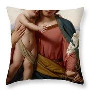 Madonna And Child Throw Pillow by Franz Ittenbach