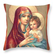 Madonna And Sitting Baby Jesus Throw Pillow by Zorina Baldescu