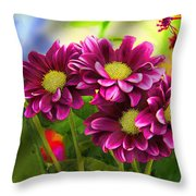 Magenta Flowers Throw Pillow by Chuck Staley